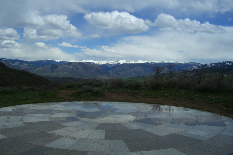 Mosaic of yin yang at top of the Rim Trail in Snowmass