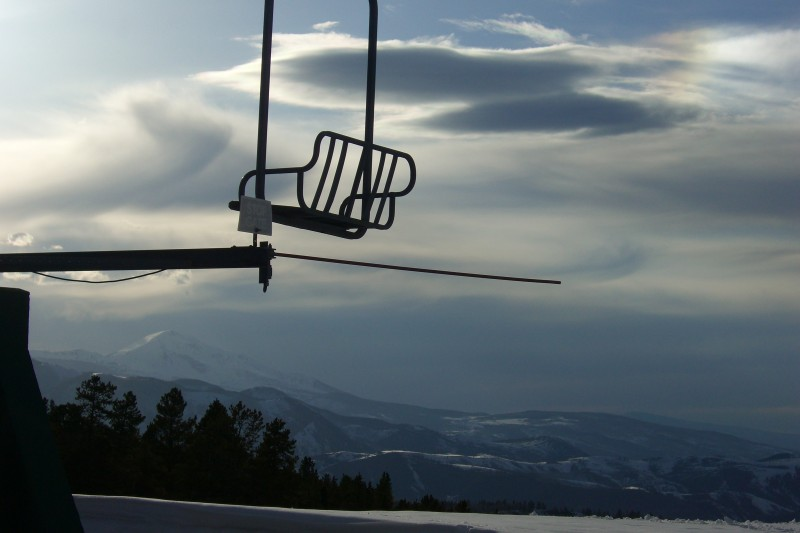 An empty chair at Tiehack on Buttermilk ski area