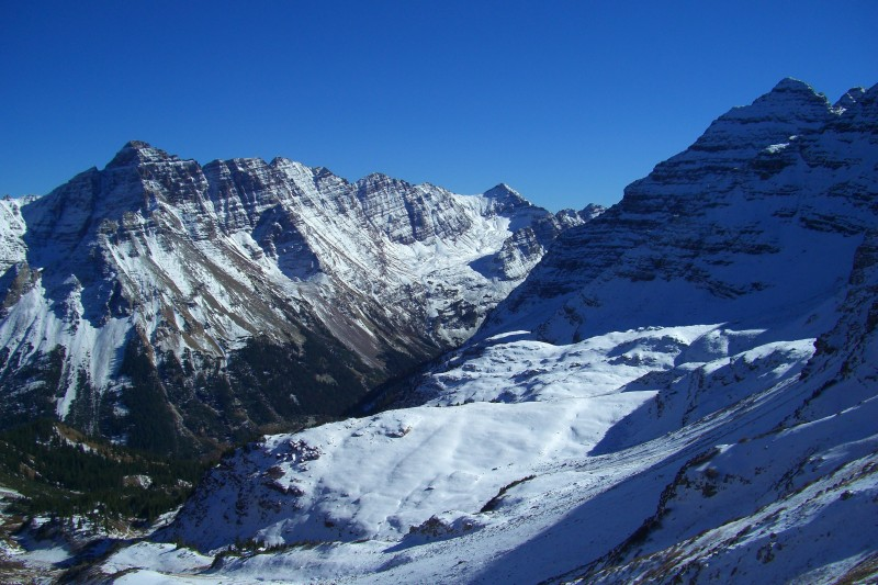 Pyramid Peak and Maroon Bells from Buckskin Pass