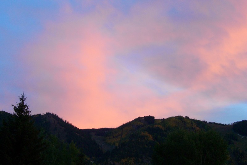 Nice colors with the clouds, and the changing aspen trees on Aspen Mtn.