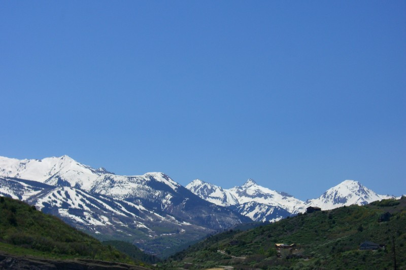 Snowmass Ski Area and surrounding peaks, from the Rio Grande Trail