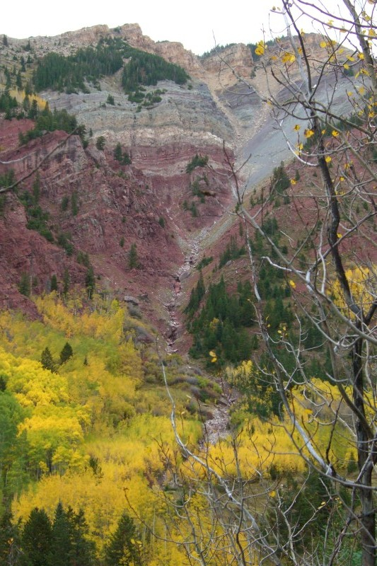 Colorful Colorado in Fall, from the the back side of Snowmass Ski Area, on East Snowmass Trail