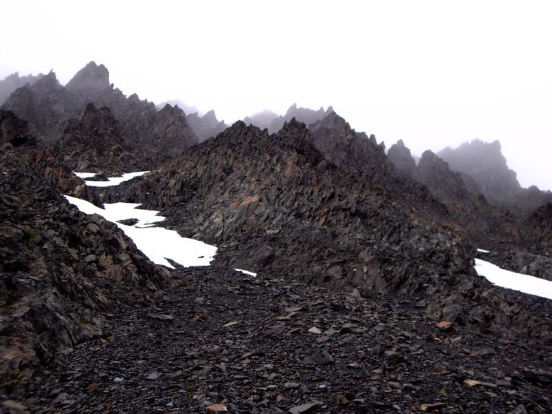 near the summit of Steamroller Pass, backpacking in Alaska