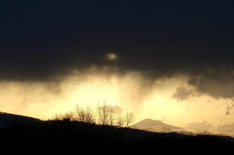 Mt. Sopris at sunset during/after a late spring storm