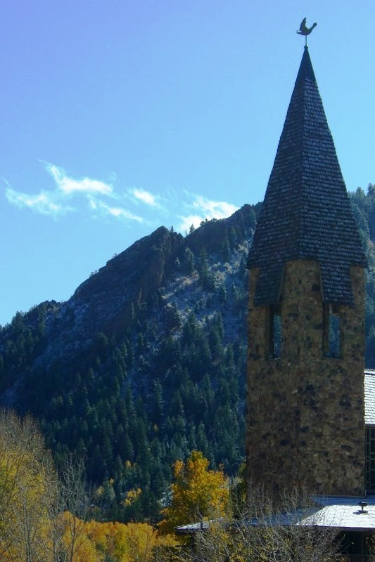 after a fall dusting of snow on the Aspen Chapel and Shadow Mountain