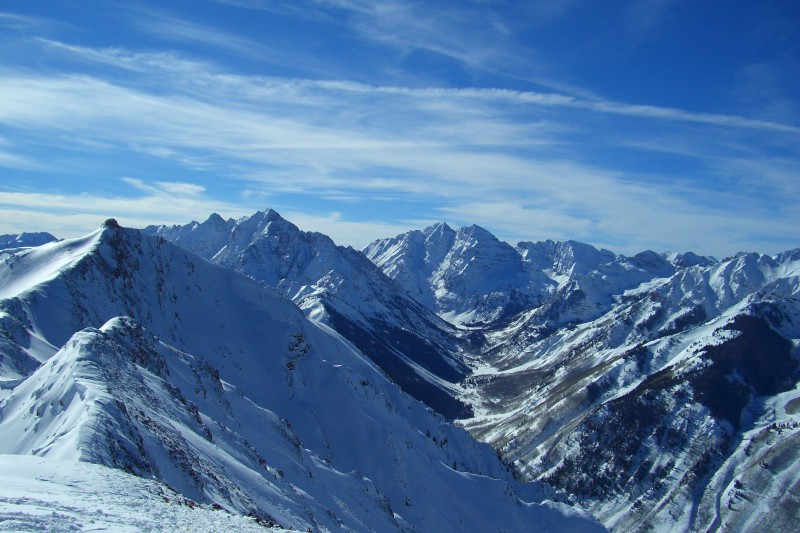 Spectacular view from the top of the Highland Bowl at Aspen Highlands (12,382 ft).